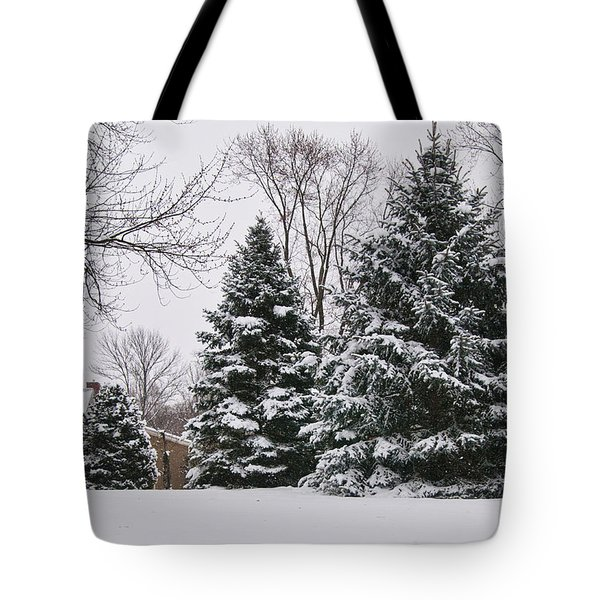 Evergreens In The Snow Tote Bag