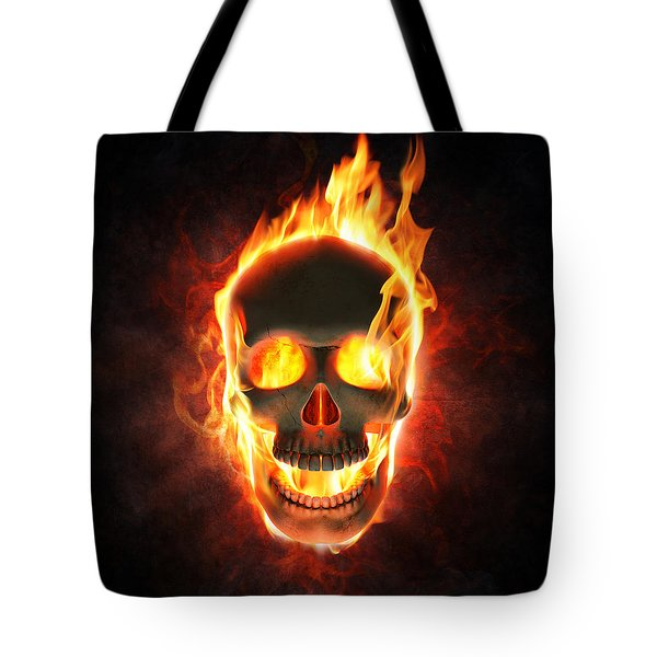 Evil Skull In Flames And Smoke Tote Bag