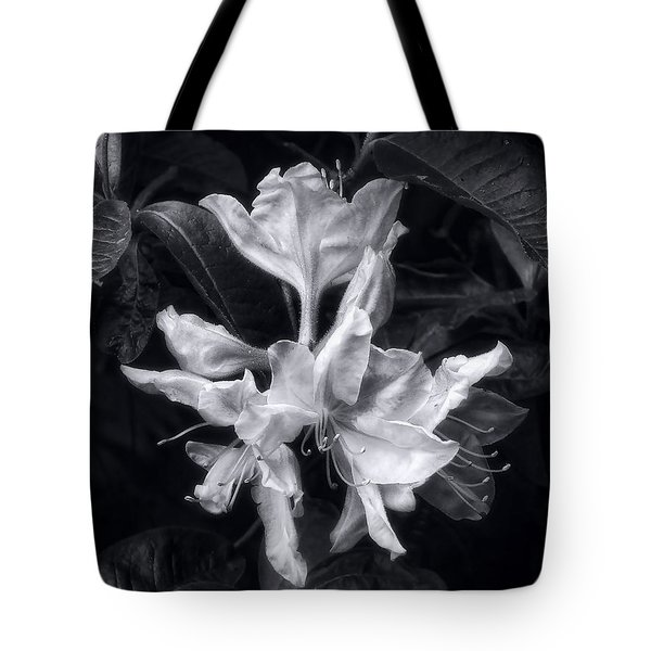 Exbury Azalea In Black And White Tote Bag by Louise Kumpf