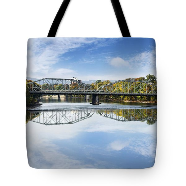 Tote Bag featuring the photograph Exchange St. Bridge Rock Bottom Dam Binghamton Ny by Christina Rollo