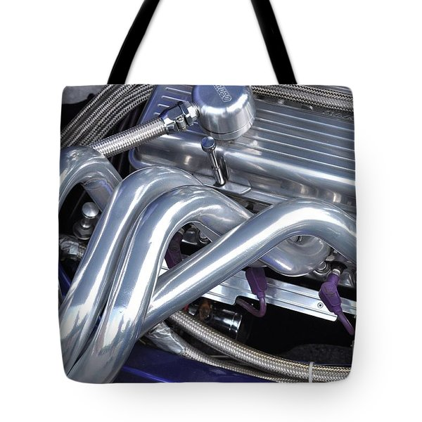 Exhaust Manifold Hot Rod Engine Bay Tote Bag by Allen Beatty