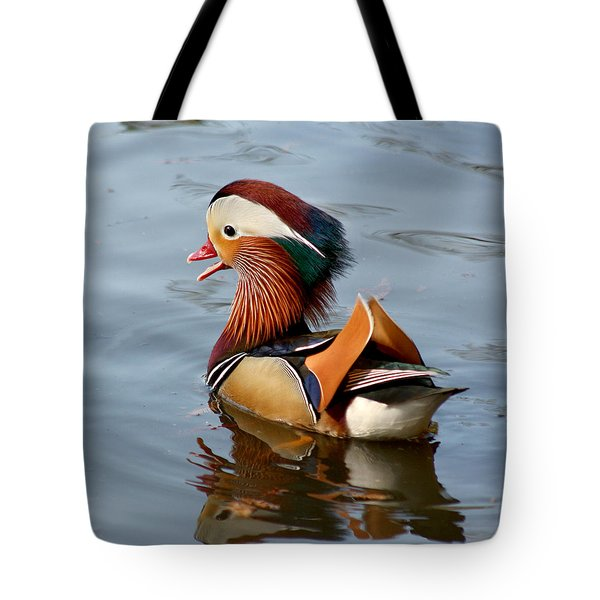Tote Bag featuring the photograph Exotic Mandarin Duck by Bob and Jan Shriner