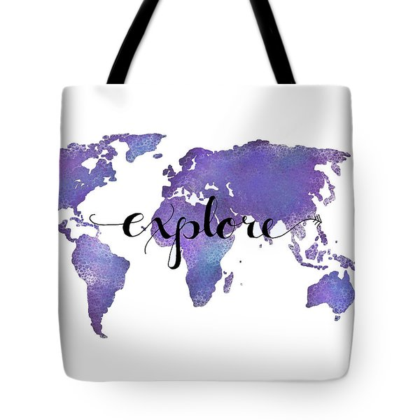 Explore World Map Painting Tote Bag