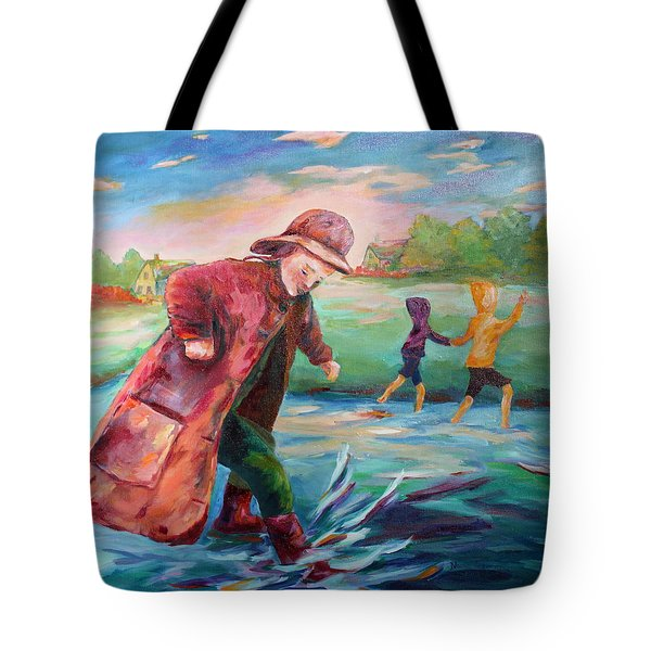 Exploring Puddles Tote Bag by Naomi Gerrard