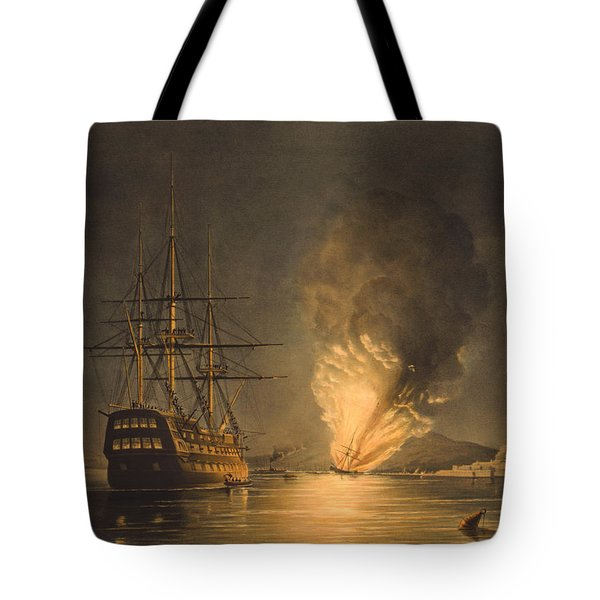 Explosion Of The Uss Steam Frigate Missouri Tote Bag by War Is Hell Store