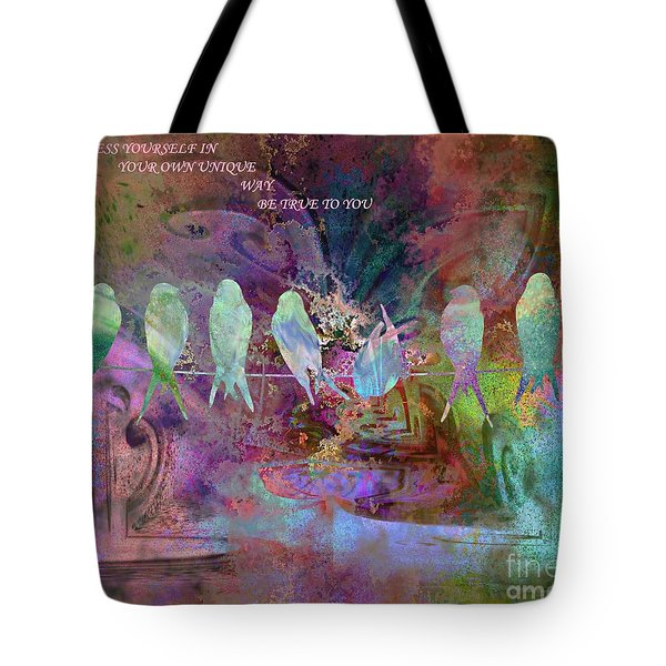 Express Yourself Birds On Wire Tote Bag