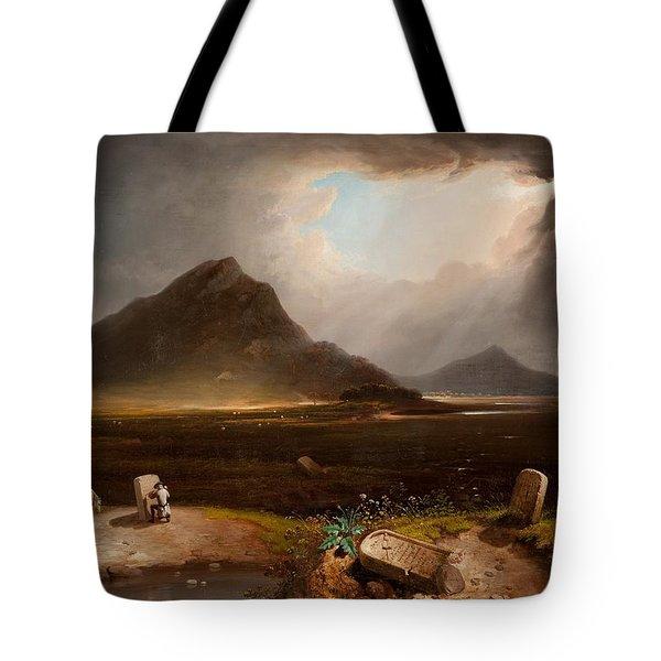 Extensive Landscape With Stonemason Tote Bag by Daniel M. Mackenzie
