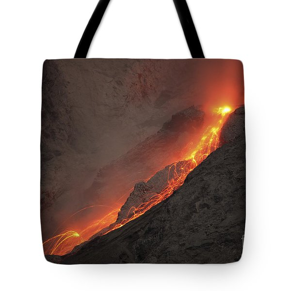 Extrusion Of Lava On Glowing Rockfalls Tote Bag by Richard Roscoe