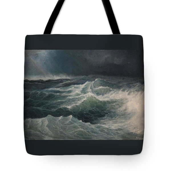 Tote Bag featuring the painting Eye Of Storm by Mikhail Savchenko