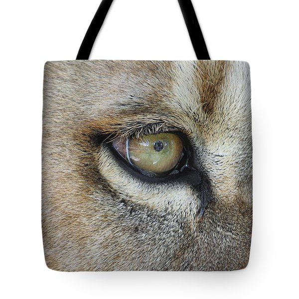 Tote Bag featuring the photograph Eye Of The Lion by Judy Whitton