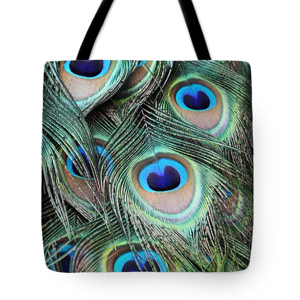 Tote Bag featuring the photograph Eye Of The Peacock #2 by Judy Whitton