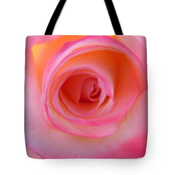 Tote Bag featuring the photograph Eye Of The Rose by Deb Halloran