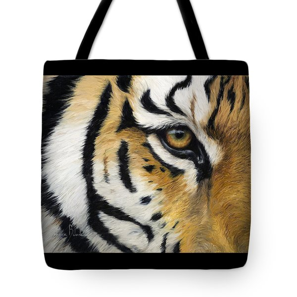 Eye Of The Tiger Tote Bag by Lucie Bilodeau