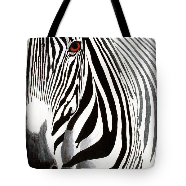 Eye Of The Zebra Tote Bag by Mike Robles