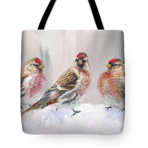 Snowy Birds - Eyeing The Feeder 2 Alaskan Redpolls In Winter Scene Tote Bag