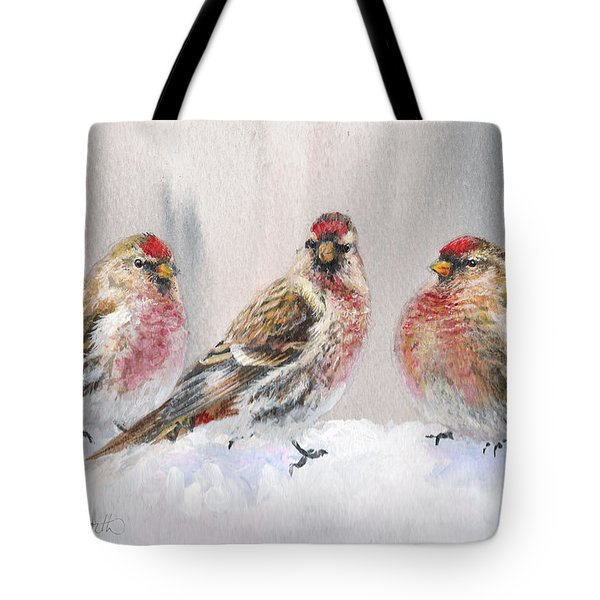 Snowy Birds - Eyeing The Feeder 2 Alaskan Redpolls In Winter Scene Tote Bag