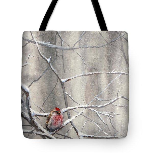 Eyeing The Feeder Alaskan Redpoll In Winter Tote Bag