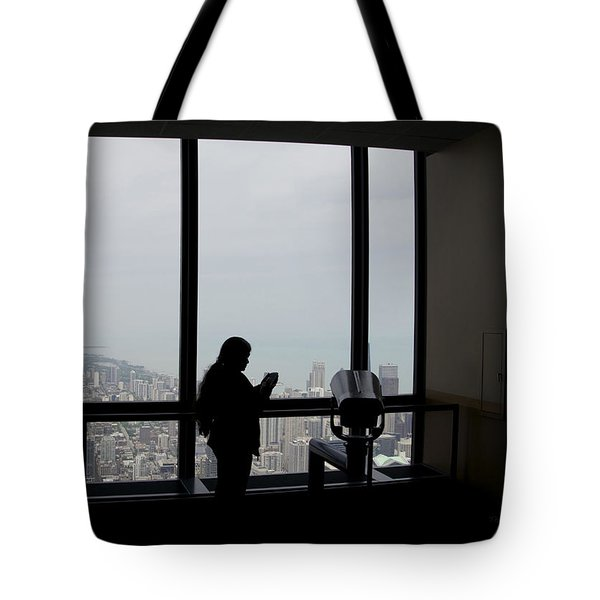 Eyes Down From The 103rd Floor Texting From The Top Of The World Tote Bag by Thomas Woolworth