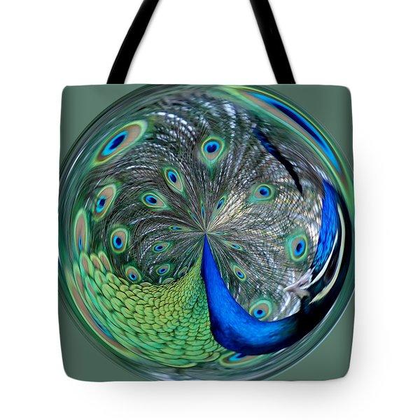 Eyes Of A Peacock Tote Bag by Cynthia Guinn