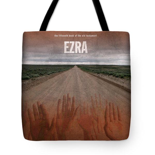 Ezra Books Of The Bible Series Old Testament Minimal Poster Art Number 15 Tote Bag by Design Turnpike