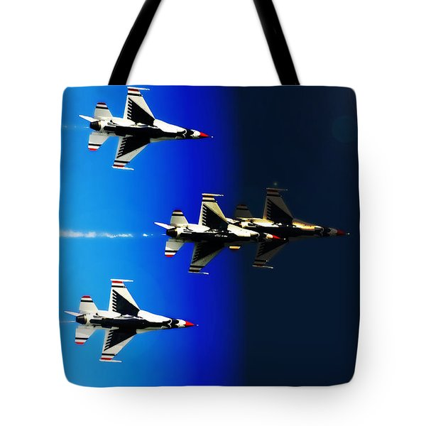 F16 Flight Into Space Tote Bag by DigiArt Diaries by Vicky B Fuller