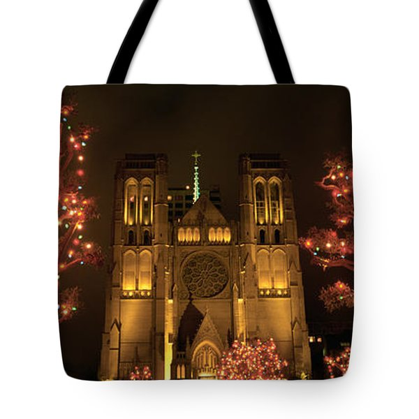 Facade Of A Church, Grace Cathedral Tote Bag