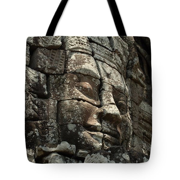 Face At Banyon Ankor Wat Cambodia Tote Bag by Bob Christopher