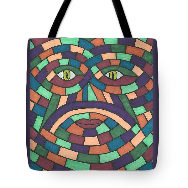 Tote Bag featuring the painting Face In The Maze by Susie Weber