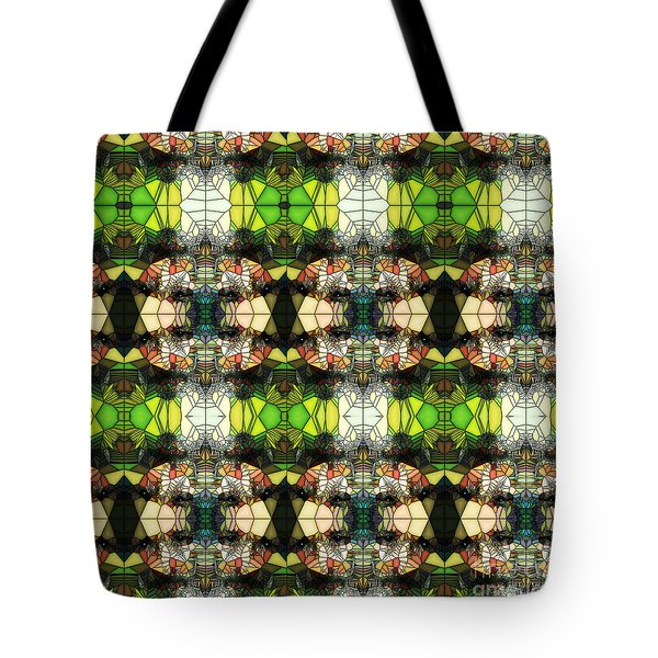 Tote Bag featuring the photograph Face In The Stained Glass Tiled by Clayton Bruster