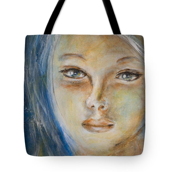 Tote Bag featuring the painting Face Of An Angel by Nik Helbig
