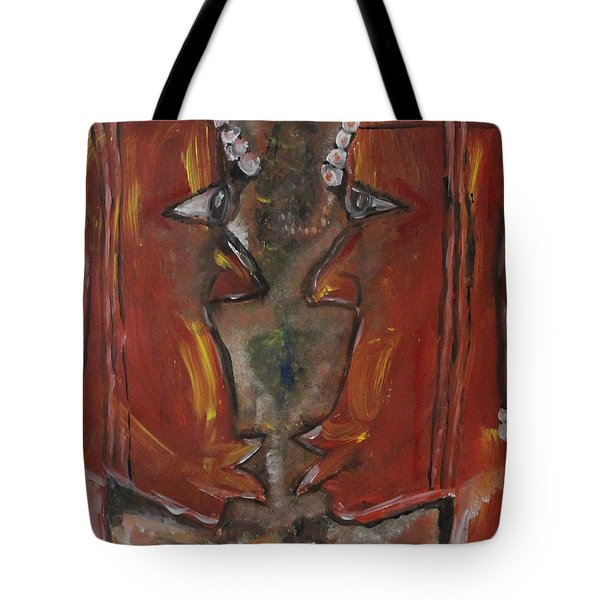 Tote Bag featuring the painting Face To Face by Lucy Matta