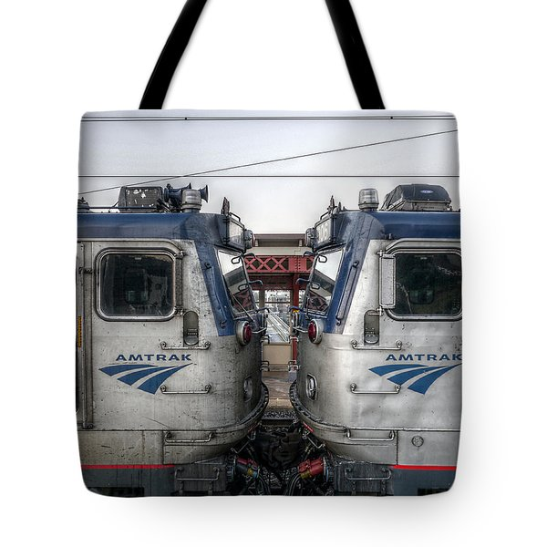 Face To Face On Amtrak Tote Bag by Richard Reeve