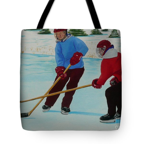 Faceoff Tote Bag by Anthony Dunphy
