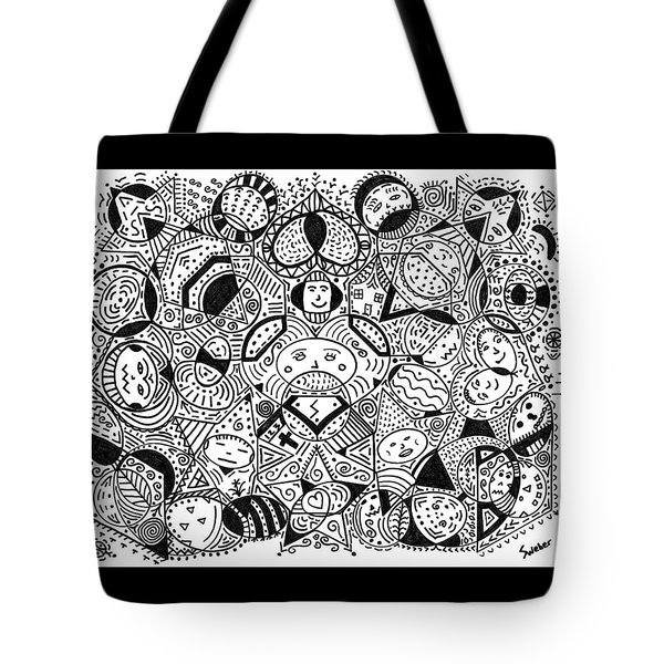 Tote Bag featuring the painting Faces In The Crowd by Susie Weber