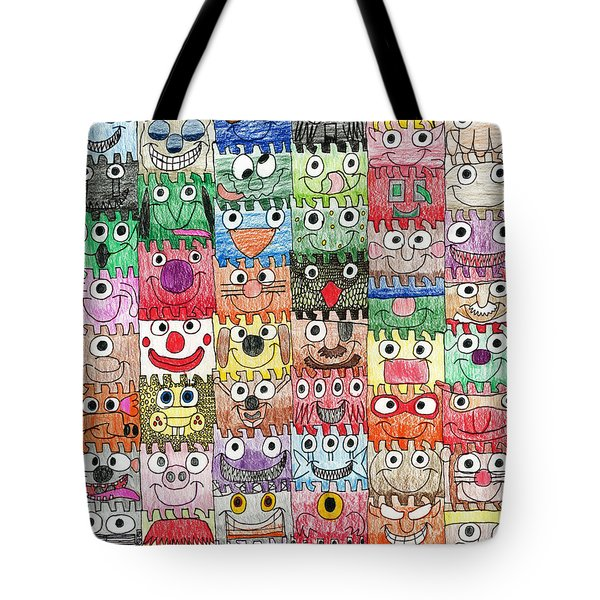 Faces Puzzle Poster Tote Bag