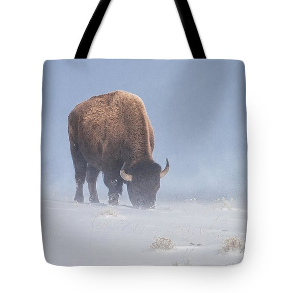 Tote Bag featuring the photograph Faces The Blizzard by Jack Bell
