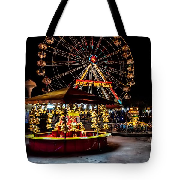 Fairground At Night Tote Bag by Adrian Evans