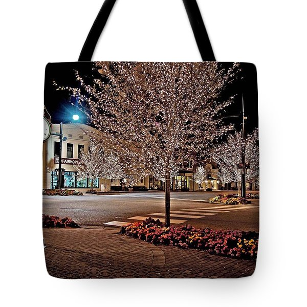 Fairhope Ave With Clock Night Image Tote Bag