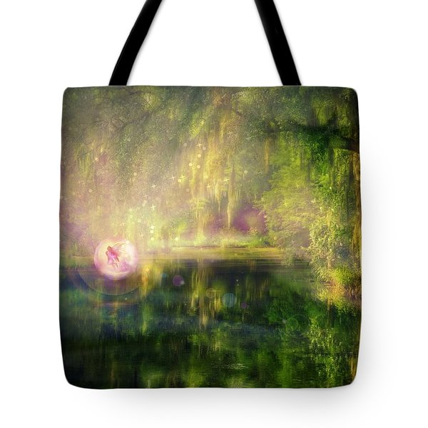 Fairy In Pink Bubble In Serenity Forest Tote Bag