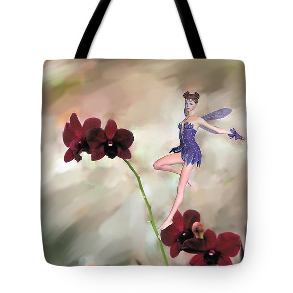 Tote Bag featuring the photograph Fairy In The Orchid Garden by Rosalie Scanlon
