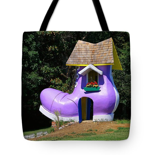 Fairy Tale Shoe House Tote Bag by John Cardamone