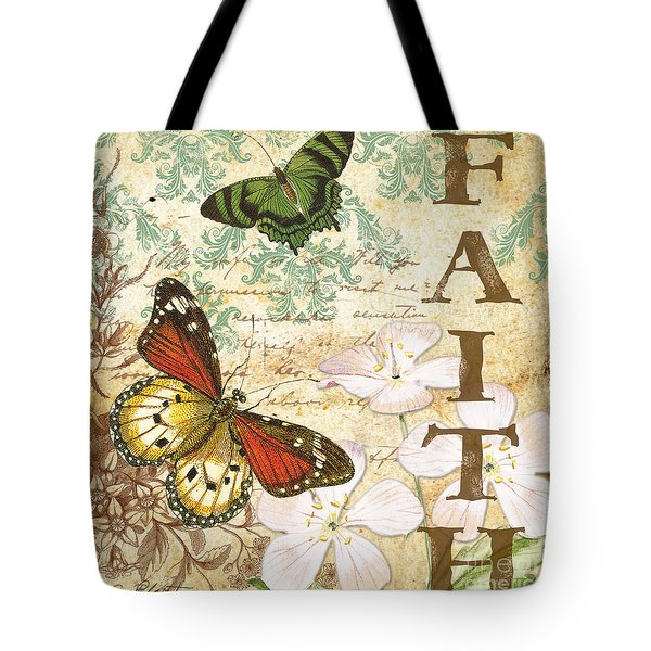 Faith And Butterflies Tote Bag