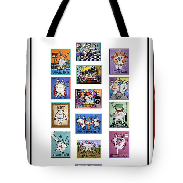 Tote Bag featuring the painting Falboart Tooth Chart Number 2 by Anthony Falbo