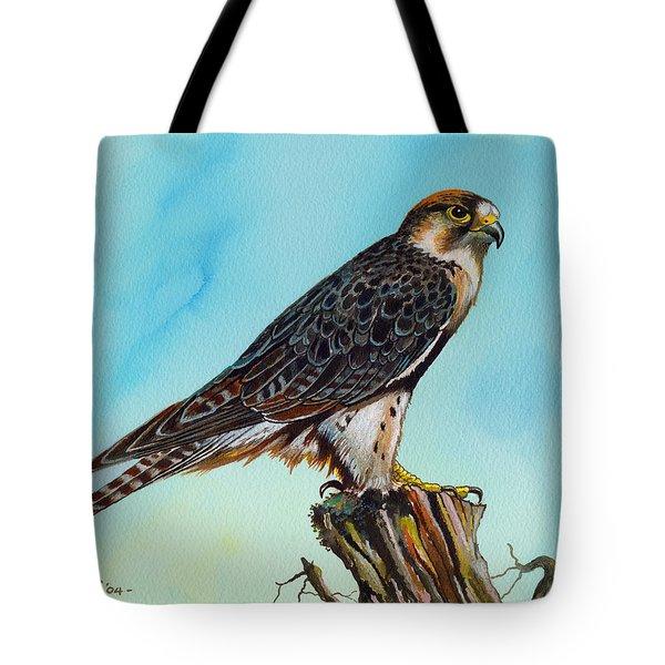 Falcon On Stump Tote Bag