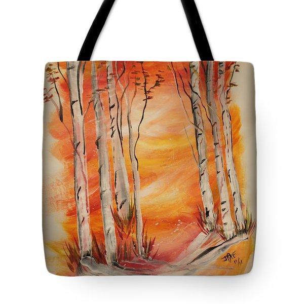 Tote Bag featuring the painting Fall Aspen On Paper by Janice Rae Pariza