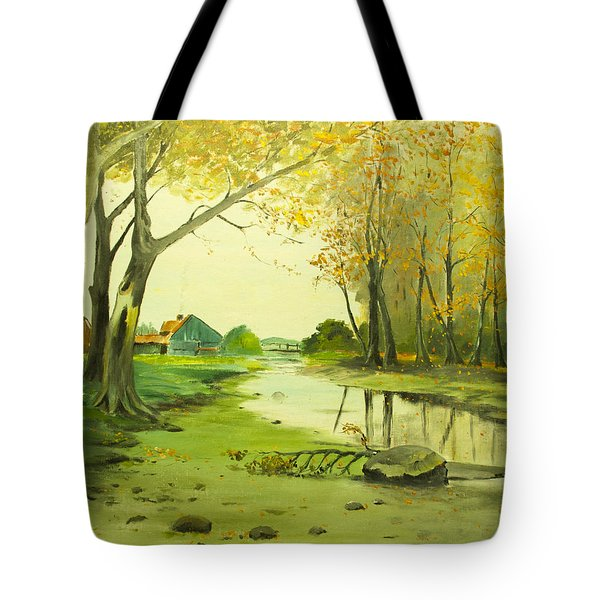 Fall By The Stream By Merlin Reynolds Tote Bag