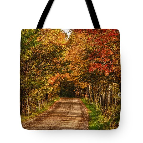 Tote Bag featuring the photograph Fall Color Along A Dirt Backroad by Jeff Folger
