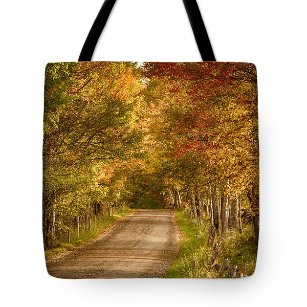 Tote Bag featuring the photograph Fall Color Along A Peacham Vermont Backroad by Jeff Folger