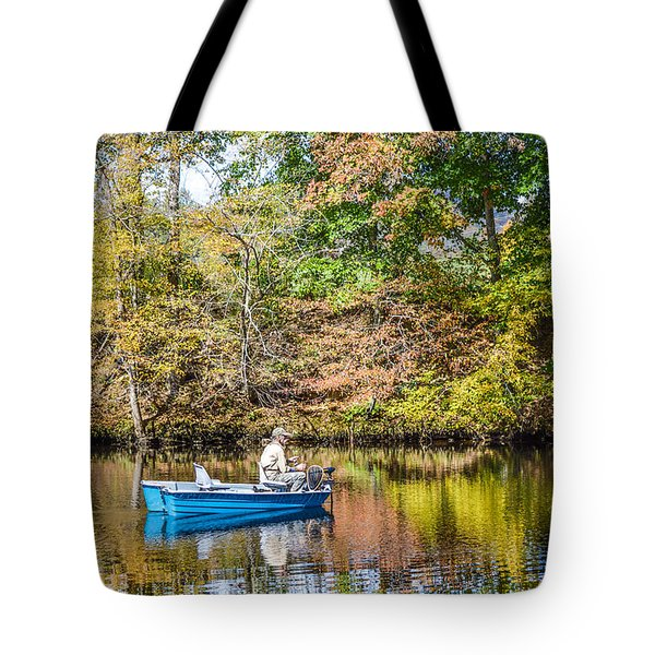 Tote Bag featuring the photograph Fishing Reflection by Debbie Green