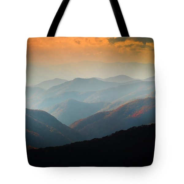 Fall Foliage Ridgelines Great Smoky Mountains Painted  Tote Bag by Rich Franco